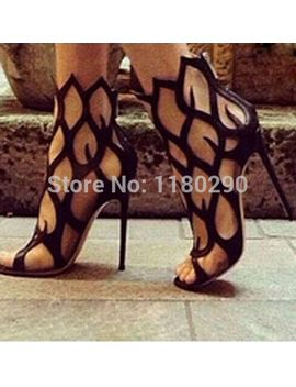 new-fashion-women-summer-brand-branch-design-black-gladiator-boots-high-heel-cut-out-high-heels-beautiful-shoes by ali-express