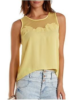 embroidered-mesh-&-chiffon-tank-top by charlotte-russe