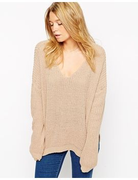 asos-ultimate-chunky-jumper-with-v-neck by asos-collection