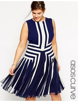 asos-curve-premium-placed-nautical-mesh-insert-dress by asos-curve