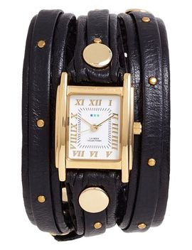 studded-leather-wrap-watch,-19mm by la-mer-collections