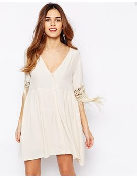 kiss-the-sky-button-down-dress-with-tassel-sleeves by kiss-the-sky