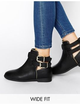 new-look-wide-fit-carosel-buckle-flat-boots by new-look