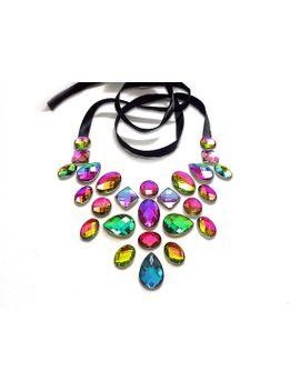 floating-rainbow-statement-necklace,-rhinestone-illusion-necklace,-floating-rhinestone-necklace,-illusion-jewelry,-iridescent-necklace by sparklebeastdesign