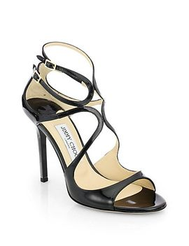 lang-100-strappy-patent-leather-sandals by jimmy-choo