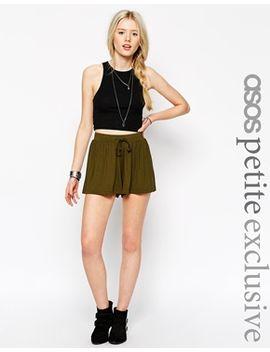 asos-petite-drawstring-culotte-shorts by asos