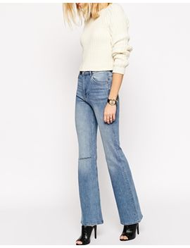 asos-farleigh-flare-jeans-in-vintage-wash-with-ripped-knee by asos-collection