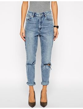 asos-farleigh-high-waist-slim-mom-jeans-in-day-dreamer-vintage-wash-with-busted-knees by asos-collection