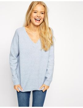 asos-jumper-in-fluffy-yarn-with-v-neck by asos-collection
