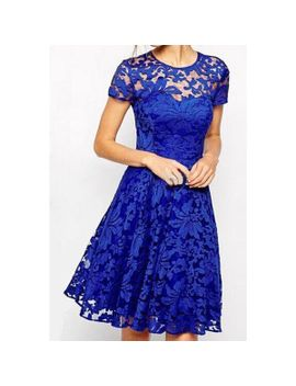 stylish-round-neck-short-sleeve-solid-color-lace-womens-dress by dress-lily
