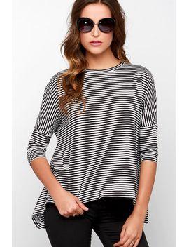 bb-dakota-viveca-white-and-black-striped-top by bb-dakota