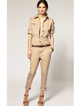 khaki-long-sleeve-cotton-street-jumpsuit-pant by sheinside