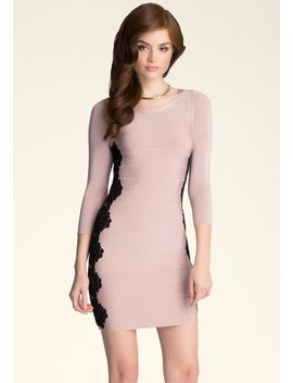 lace-applique-bandage-dress by bebe
