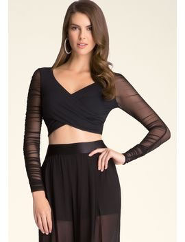 mesh-sleeve-wrap-crop-top by bebe