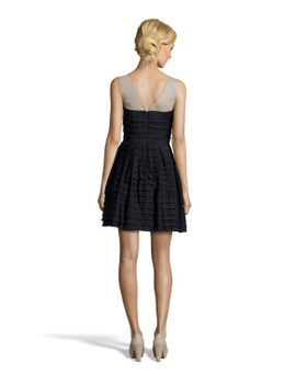 black-stretch-satin-marina-tiered-detail-embellished-accent-sleeveless-dress by bcbgmaxazria