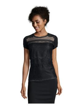 black-knit-tiered-lace-front-short-sleeve-rylan-tee by bcbgmaxazria