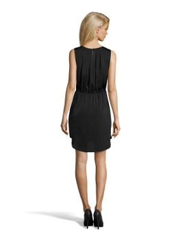 shiny-black-pleated-jane-embellished-dress by bcbgmaxazria