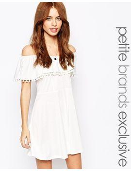 glamorous-petite-bardot-jersey-dress-with-pom-pom-trim by glamorous-petite