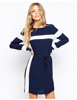 vila-contrast-stripe-dress by vila