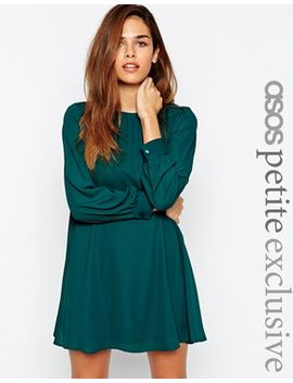 asos-petite-mini-babydoll-swing-dress-with-long-sleeve by asos-petite