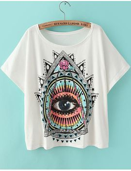 eye-print-loose-t-shirt by romwe