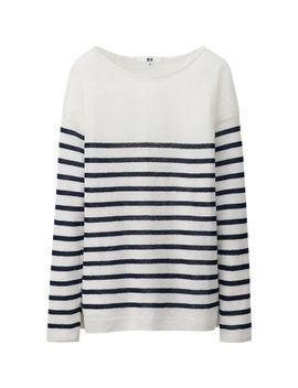 women-premium-linen-striped-sweater by uniqlo