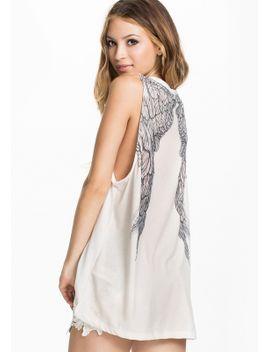 sleeveless-wing-print-loose-white-t-shirt by romwe