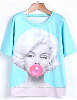 beauty-print-sky-blue-t-shirt by romwe