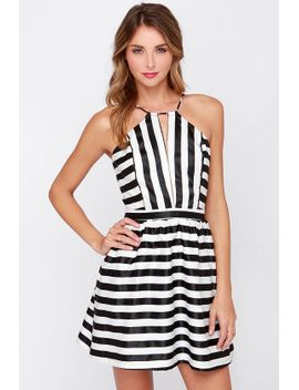 compare-and-contrast-black-and-ivory-striped-dress by lulus
