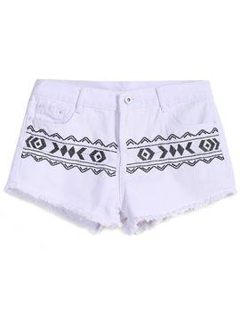 geometric-embroidered-fringe-denim-shorts by romwe