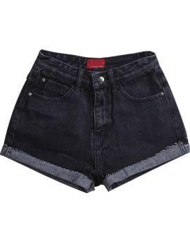 pockets-fringe-black-denim-shorts by romwe