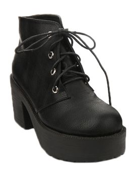tied-black-platform-ankle-boots by romwe