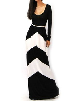 scoop-neck-striped-maxi-black-and-white-dress by romwe