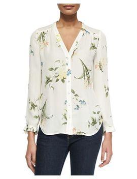 yvetta-floral-print-silk-blouse by joie
