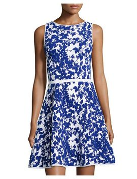 sleeveless-floral-print-flare-dress by milly