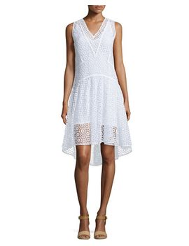 sleeveless-v-neck-tile-lace-dress,-sea-salt by rebecca-taylor