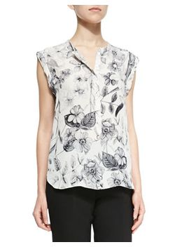 cap-sleeve-top-with-botanical-print by rebecca-taylor