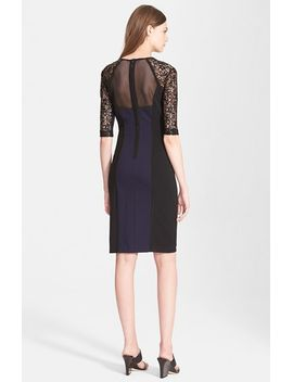 ponte-&-lace-sheath-dress by rebecca-taylor
