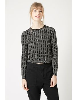 hexagonal-print-long-sleeve-top by topshop