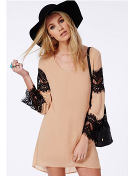 chiffon-lace-swing-dress-camel by missguided