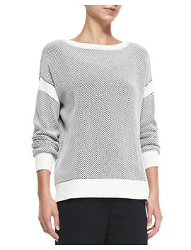 two-tone-perforated-knit-sweater by vince