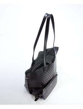 black-perforated-leather-shopping-tote by harris