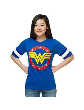 wonder-woman-hockey-stripe-ladies-tee by think-geek