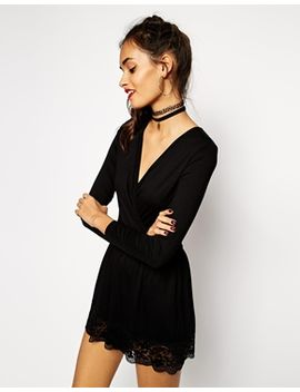 asos-wrap-playsuit-with-lace-hem by asos-collection