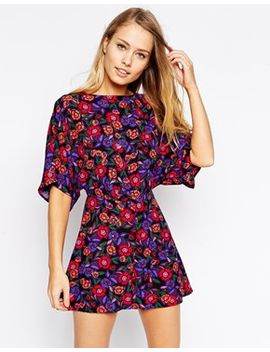 asos-playsuit-with-kimono-sleeve-in-floral-print by asos-collection