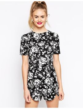 asos-playsuit-in-dark-floral-print by asos-collection