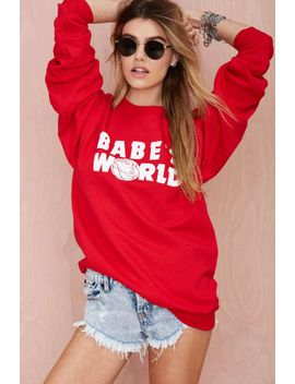 petals-and-peacocks-babes-world-sweatshirt by nasty-gal