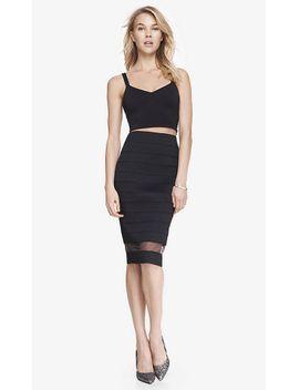 elastic-stripe-high-waist-sheer-inset-midi-skirt by express