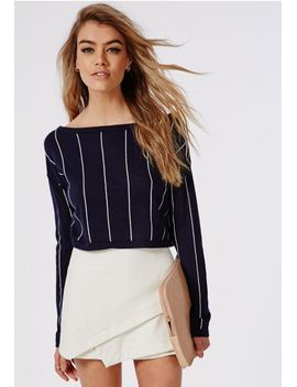 off-shoulder-stripe-knitted-cropped-jumper-navy-and-white by missguided
