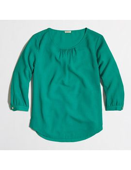 three-quarter-sleeve-blouse-in-textured-grid by jcrew